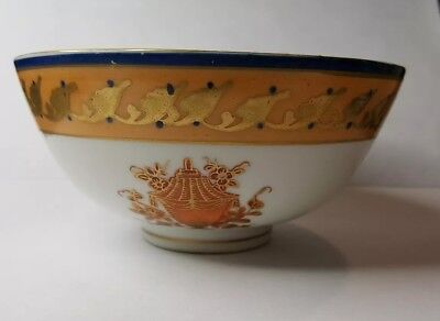 Antique Derby Chelsea Gold Anchor English China Soft Paste Tea Bowl Handpainted