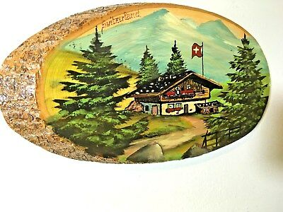 "Vtg Switzerland Tourist Swiss Chalet Wall Hanging 11"" x5.5"" Hand Painted Wood"