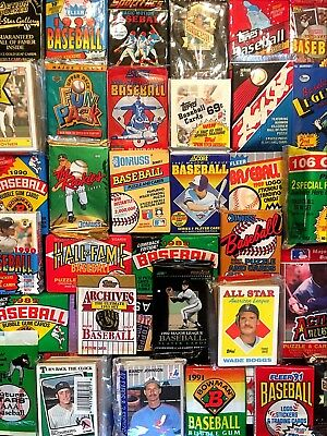 150 OLD BASEBALL CARDS in Vintage Unopened Wax Pack Lot + Star Card Bonuses!