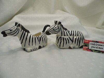 Hearth and Home Designs Zebra Pattern Creamer and Sugar Bowl