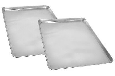 "Two Aluminum Baking Pan Sheet Commercial Grade 18"" x 13"" Half Size Bread Cookie"