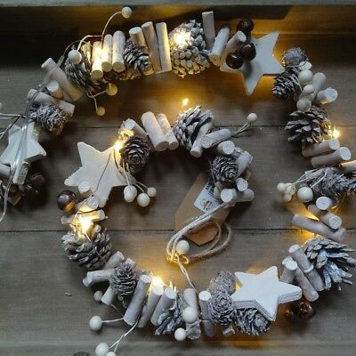 Christmas LED Garland with Pine Cones, Stars, Bells & Berries 105cm