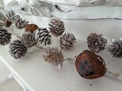 Rustic Christmas Garland With Whitewashed Pine Cones Rusty Bells