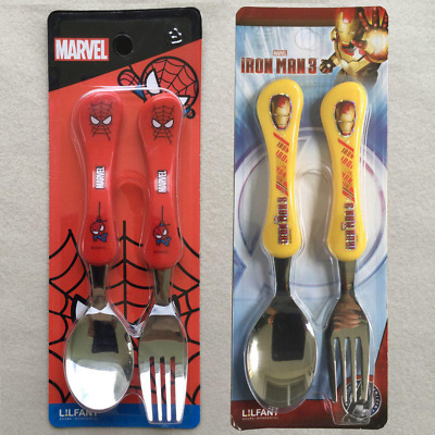 MARVEL SPIDERMAN & IRONMAN Kids Stainless Steel Spoon & Fork Set by LiLFANT