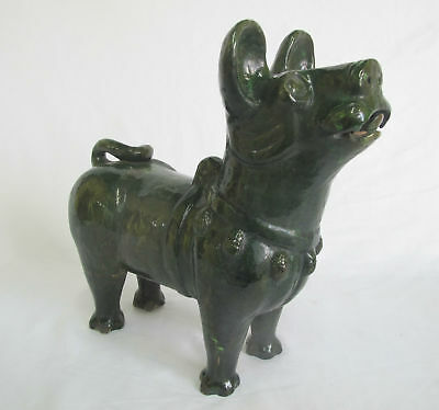 CHINESE Asian Green Glaze HAN DYNASTY? Burial Tomb Pottery Dog Figurine Statue