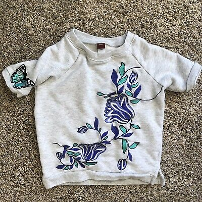 Girls Tea Collection Embroideed Gray Pullover Sweater Size 5