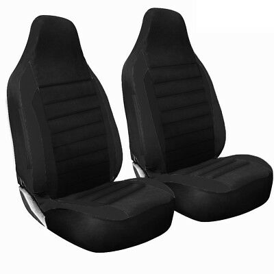 1+1 Quilted Racing Black Seat Covers For SMART FORTWO PURE (04-07)