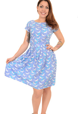 WOMENS RUN & FLY Retro Vintage 50's style tea dress in lilac unicorn print