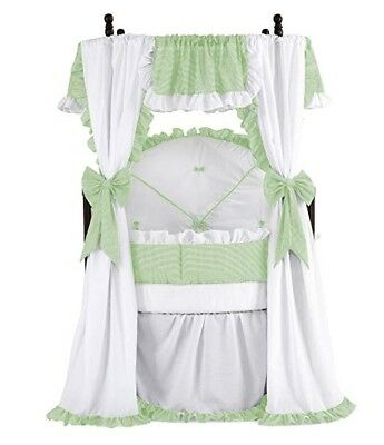 Baby Doll Round Canopy Crib Bedding Mint Gingham and White