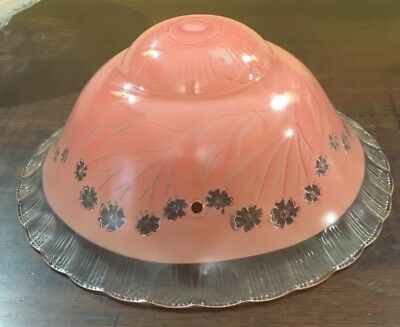 Vintage Antique Art Deco Pink 1940's Glass Ceiling Light Shade Fixture