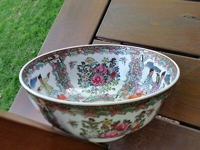 ANTIQUE chinese FAMILY ROSE RARE LARGE  MEDALION GLAZED BOWL