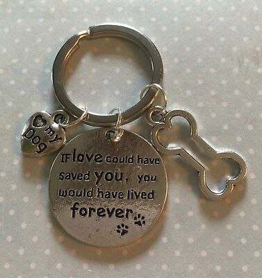 Stunning Sentimental Pet Dog Or Puppy Bereavement Loss Keyring Keepsake Memento.