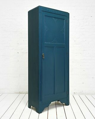 ⭐️ Beautiful Vintage hand painted wardrobe Cupboard - Farrow And Ball Hague Blue