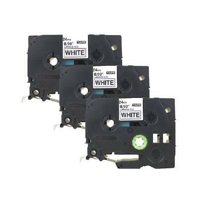 3PK TZ TZe 251 Black on White Label Tape Compatible Brother  P Touch 24mm 26.2ft
