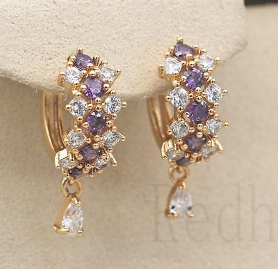 18K Yellow Gold Filled- Hollow Flower Cross Amethyst Topaz Women Gems Earrings