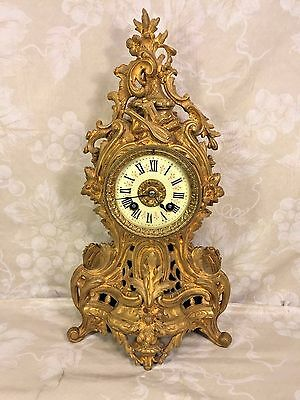 Ant French Rococo Style Clock Fancy Porcelain Face Bronze Case Beautiful Details