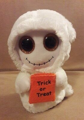 0b741bbf382 TY Beanie Boos MIST white GHOST plush orange TRICK OR TREAT Bag GLITTER  EYES 7