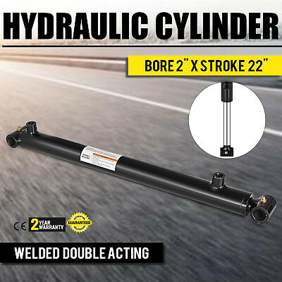 "Hydraulic Cylinder 2"" Bore 22"" Stroke Double Acting Forestry Welded Cross Tube"