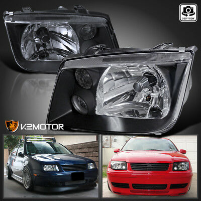 For 99-05 VW Jetta Bora MK4 Black Headlights Head Lamps w/ Fog Lights Pair