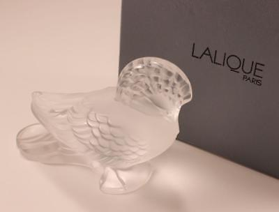 Lalique Goura Bestiary Bird Frosted Frosted Clear Crystal Paperweight Figurine