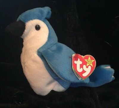 """Ty """"Rocket"""" Retired Beanie Baby With Ultra Rare Errors Blue Jay"""