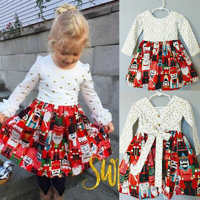 US Cute Toddler Baby Girls Dress Christmas Party Pageant Dresses Kids Clothes