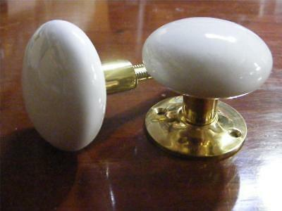 pair victorian white porcelain and brass mortice knobs 55mm,suit carpenter 1001