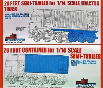 20 foot Bogie Container Trailer & CONTAINER for Tamiya 1:14 RC Semi Trailers