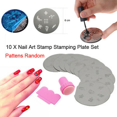 10X Nail Art Stamp Stencil Stamping Template Plate Set + Tool Stamper Design Kit