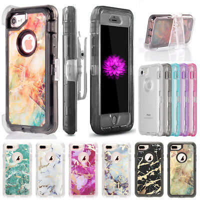Marbling Stone Texture Clear Case Cover For iPhone, Fits Otterbox Defender Clip