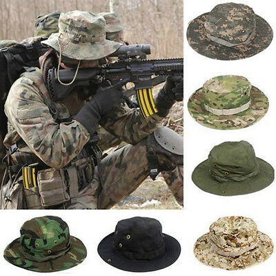 Mens Camouflage Hats Hiking Fishing Wide Brim Polyester Blend Outdoor Sun Caps