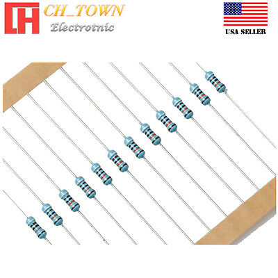 100PCS 1/4W 0.25Watt Metal Film Resistor ±1% 1 Ohm to 10k Ohm to 9.1M Ohm