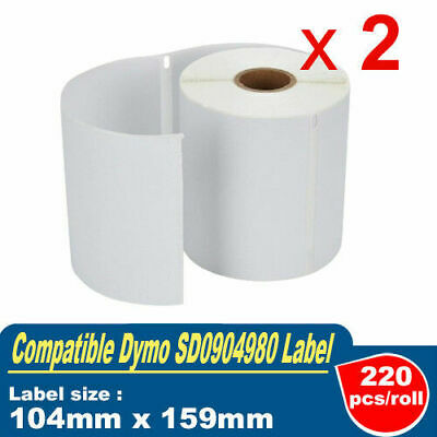 2x Rolls Compatible for Dymo SD0904980 4XL Shipping Label  104mm x 159mm