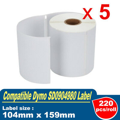 5 Compatible Rolls SD0904980/ 0904980 DYMO 4XL Shipping Label 104mm x 109mm