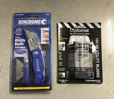 Kincrome Folding Utility Knife 150mm +100x Blades & Dispenser + Carry Pouch