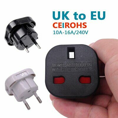 Travel UK to EU Euro Plug AC Power Charger Adapter Converter Socket Black/White