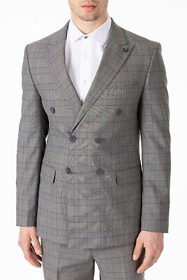 Jack Martin - Grey Prince of Wales / Glen Check Double Breasted Suit