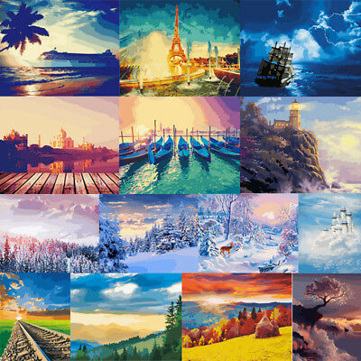 40*50cm DIY Paint By Number Kit Acrylic Oil Painting Home Art Wall Decor Scenery