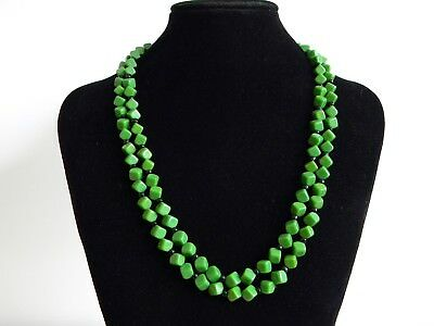Lovely Vintage Green & Black 50s Glass Beads Double Strand Necklace West German