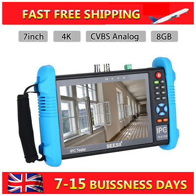 "7"" 4K UHD IPC Camera CCTV Tester Monitor CVBS Audio Analog Test Touch Screen PRO"