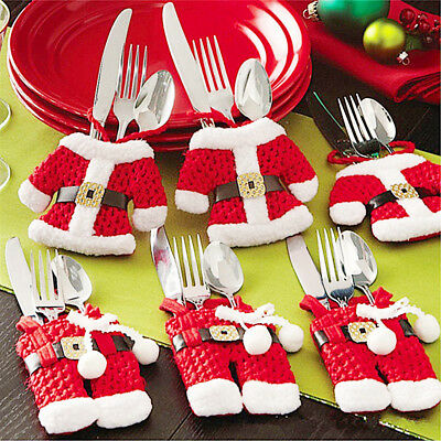 6/12X Christmas Holders Pockets Dinner Table Decor Decorations Xmas Cutlery Bag