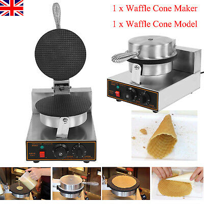 Electric Ice Cream Egg Waffle Cone Maker Machine Pan For Baking  Stainless Steel