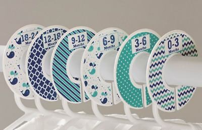 "6 baby closet dividers boy nautical navy green clothing organizer 1.25"" rod C125"