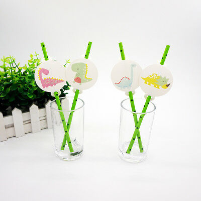 12pcs Dinosaur Theme Birthday Party Decoration Biodegradable Paper Straws Tubes