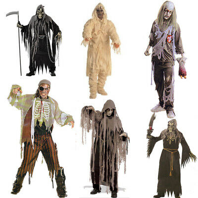 AU Halloween Adult Complete Ghost Zombie Dress Horror Mask Costume Men Outfit