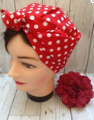 Rosie the Riveter Red/White Polka Dot Bandana 2 Retro Rockabilly Pin Up