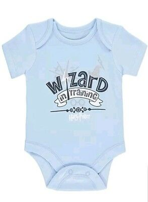 OFFICIAL Harry Potter Wizard in training Baby blue Bodysuit grow BNWT Gift new
