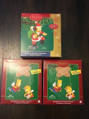 lot of 3 simpsons christmas decorations carlton cards heirloom collection mib