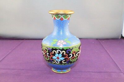 Vintage Chinese Cloisonne Vase Chrysanthemum and Floral Design