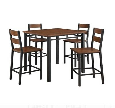 5-Piece Counter Height Dining Set Includes Table 4 Chairs Vintage Oak Finish